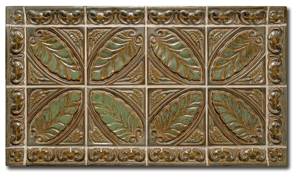 Like the makers of Arts & Crafts-era tile, Terra Firma Art Tile draws inspiration from botanical elements, Celtic motifs, and Flemish altar pieces in designs like the 'Leaf Triad'.