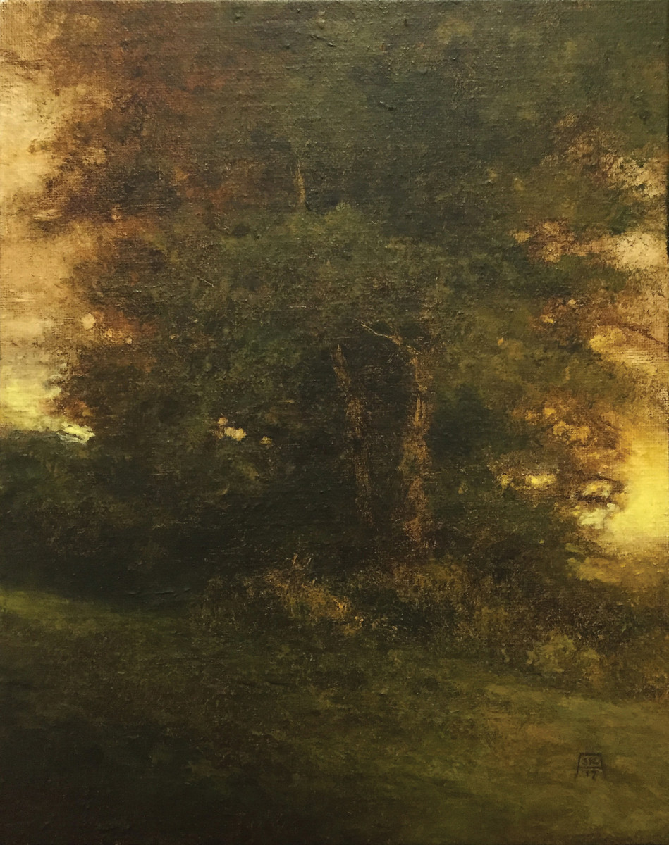 "The moody ""Elegy"" is an example of Krueger's Tonalist approach to the landscape."