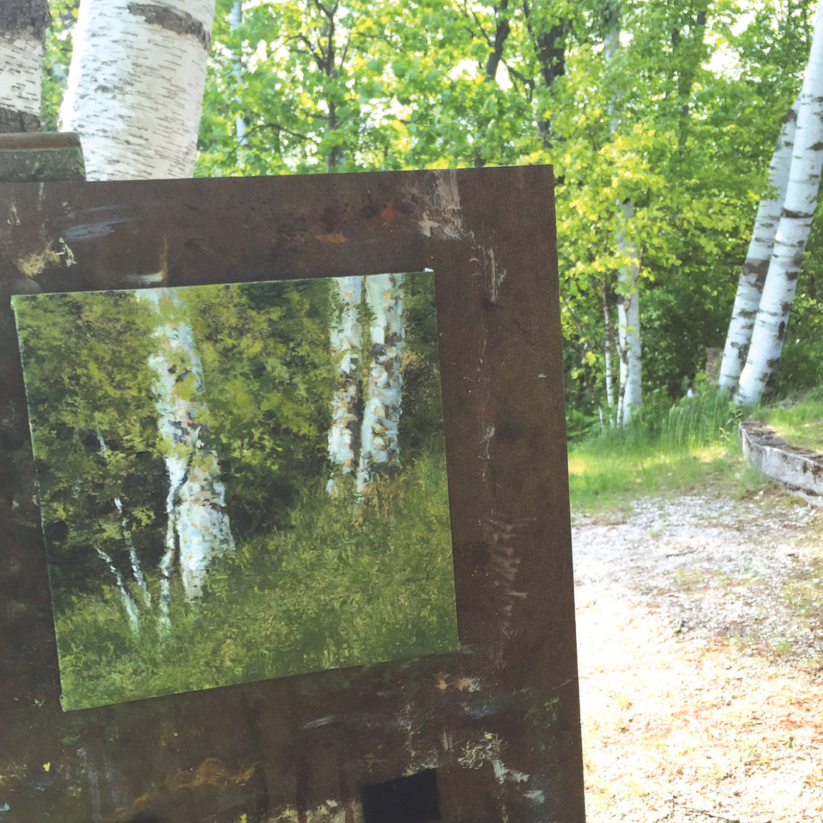 Painting en plein air, in process among birch trees in Beulah, Michigan.
