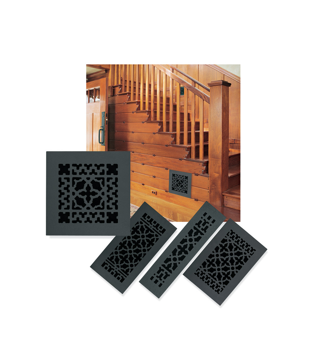 Dress up your Arts & Crafts interior with decorative cast iron grilles and registers like this one by Acorn Manufacturing.