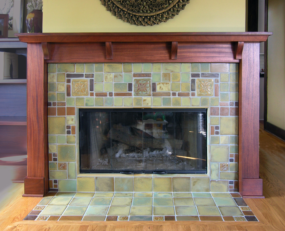 A custom tile fireplace by Pasadena Craftsman Tile.
