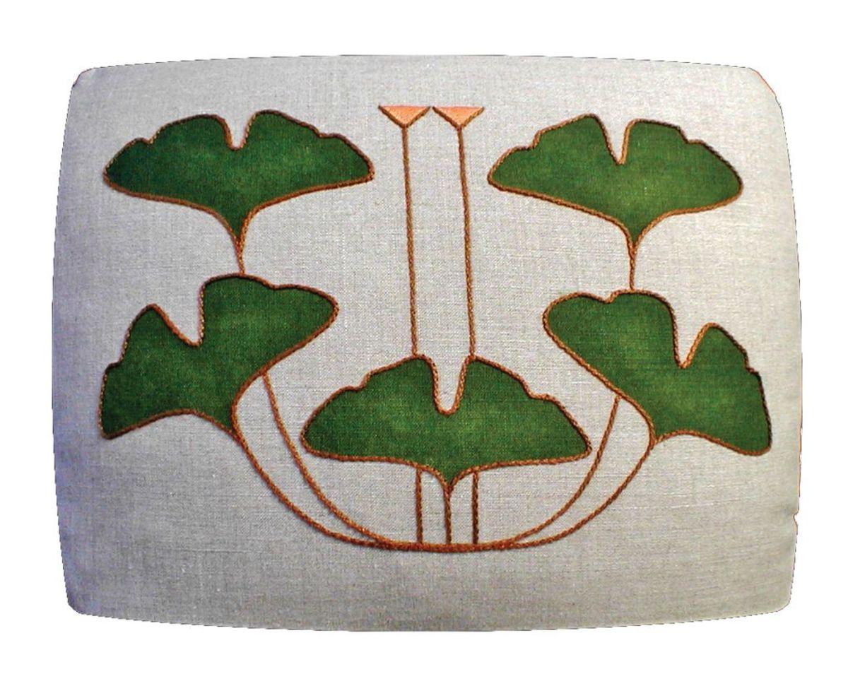 Arts & Crafts Period Textiles OHJ1219 Ginkgo_5leaf_pill16x20 2019-10-30 17_21_46
