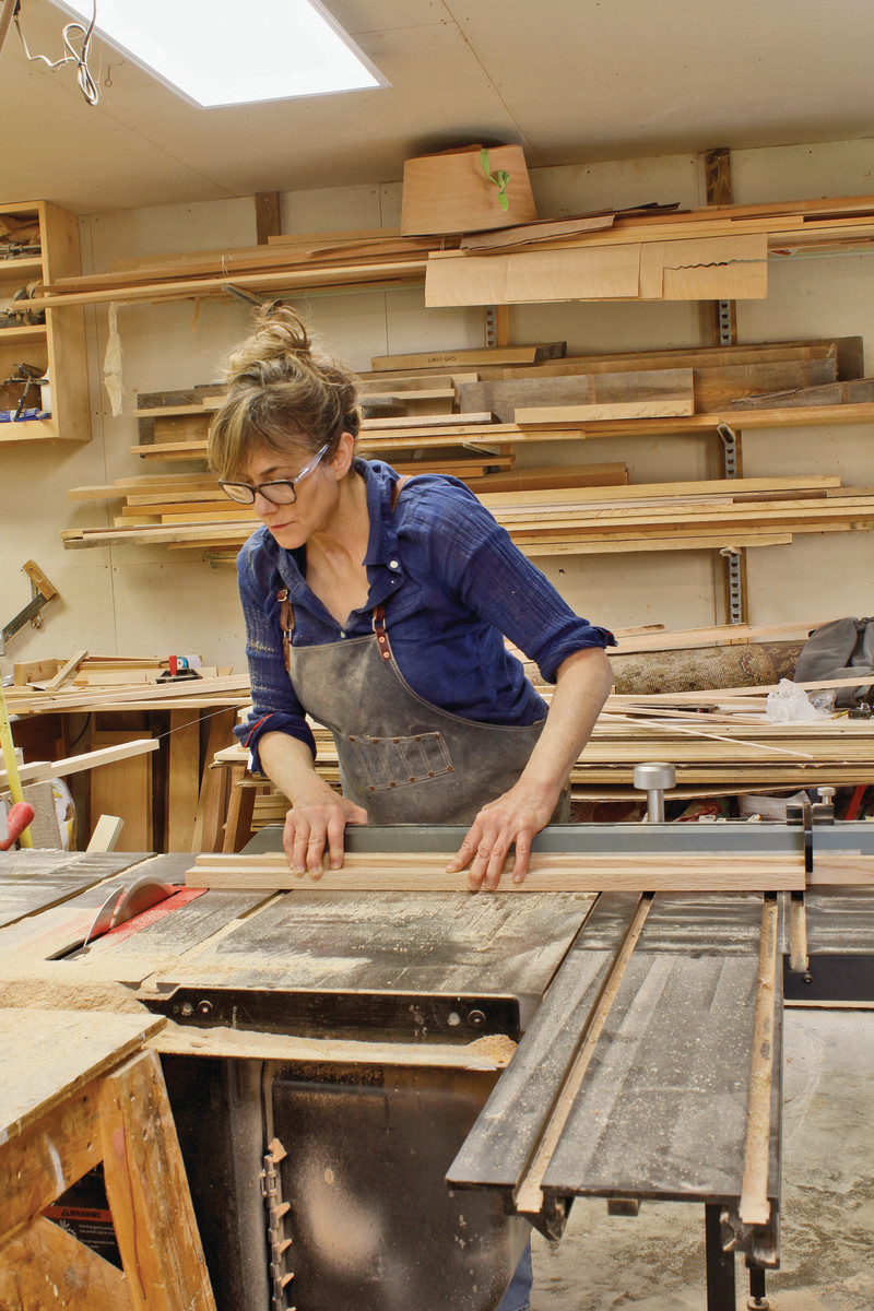 "Nancy Hiller in her workshop: ""The combination of hands-on work . . . with the intellectual background that I have, each of those dimensions enriches the other."""