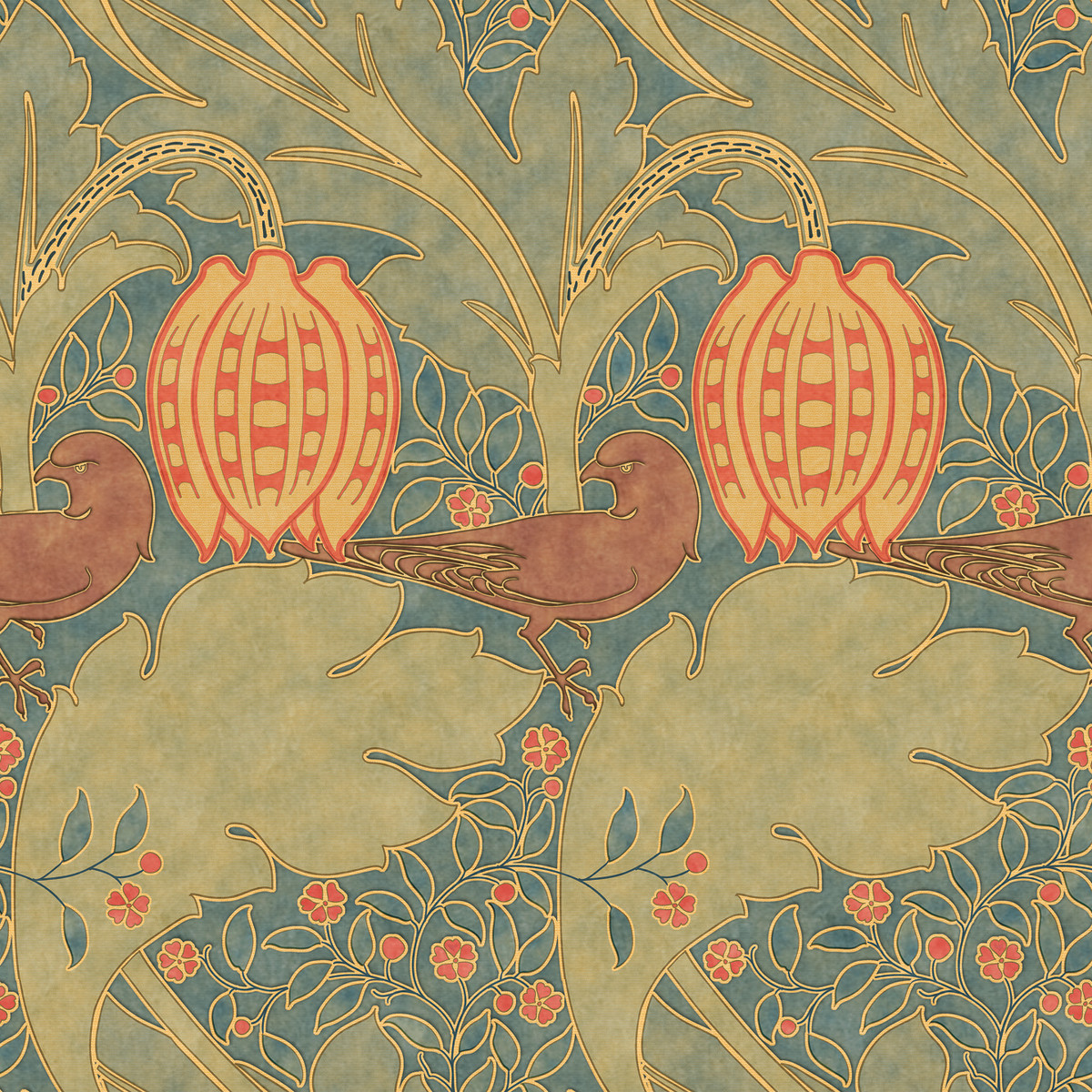 'Falcon and Lily' is a Voysey design of 1905, available from Trustworth.