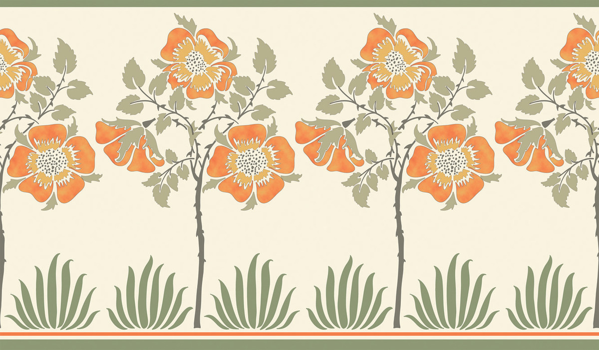 Voysey wallpapers from Trustworth include the standard 'Rose Frieze', from 1901. All papers are $7 per square foot.