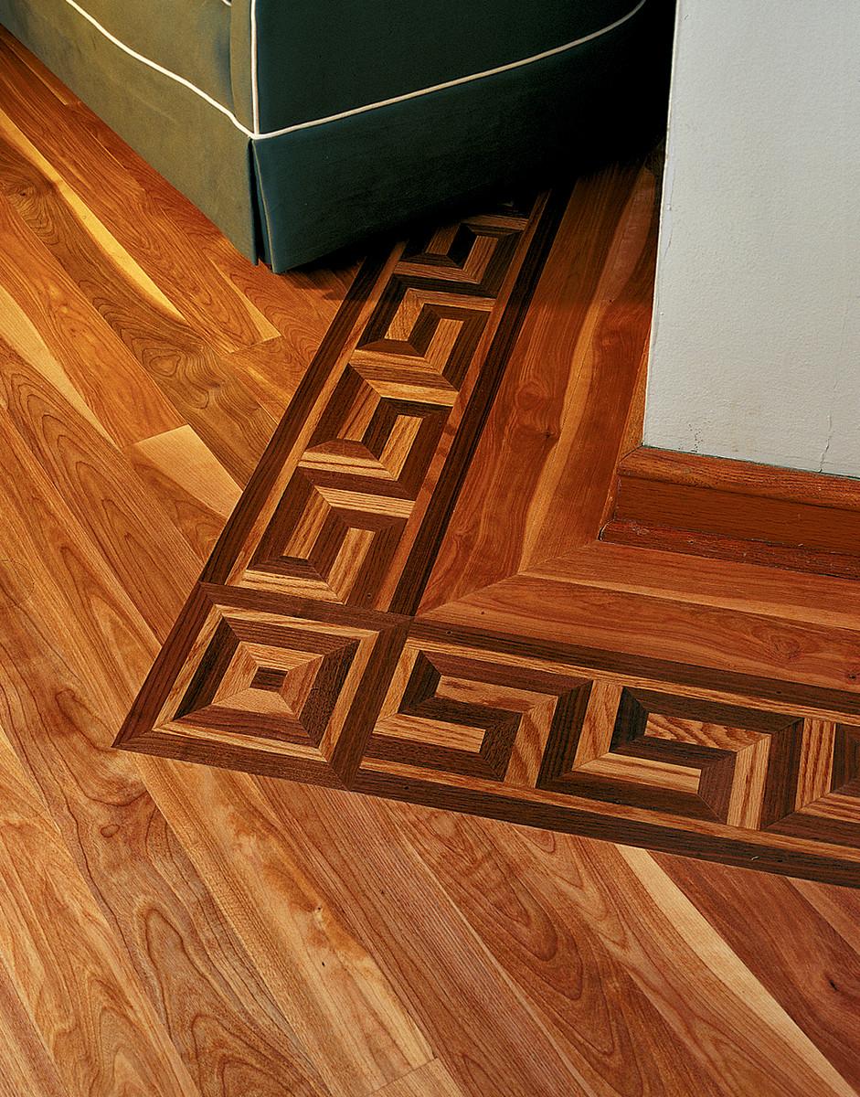 Decorative wood flooring by Oshkosh Designs.