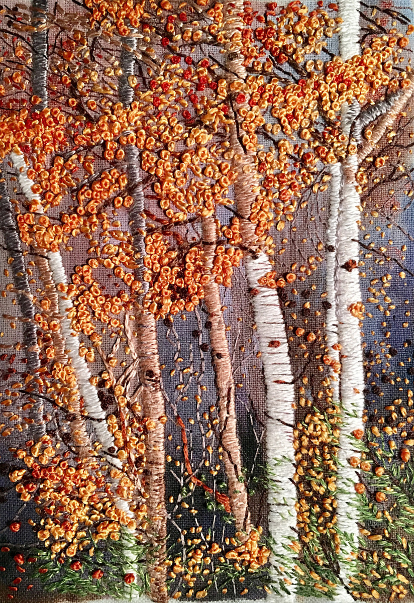 "Richards quite literally ""paints by thread,"" evidenced in this artwork, where trees and leaves are done in thread on a painted ground."