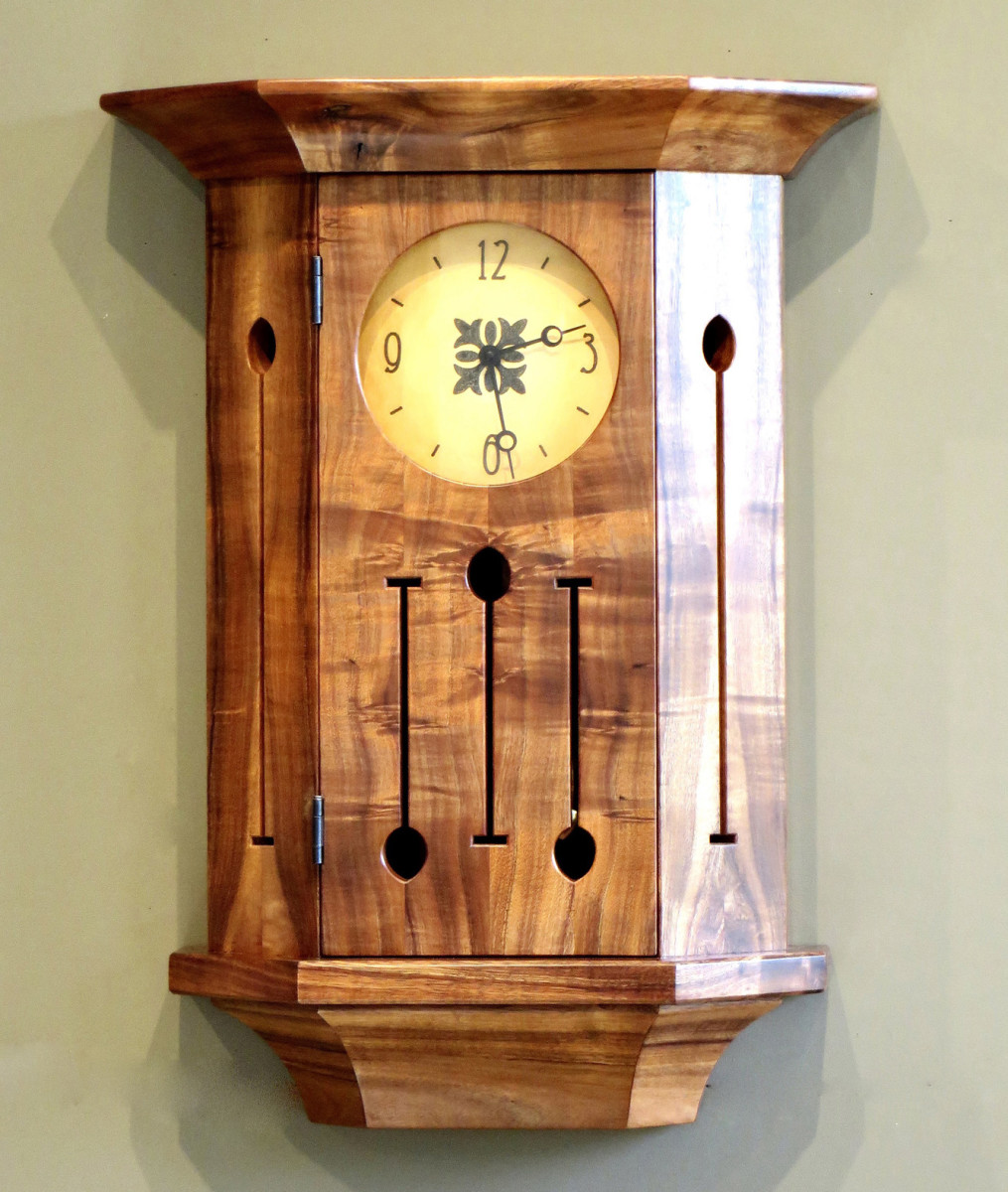 A recent custom clock was crafted from a scarce Hawaiian wood, koa.
