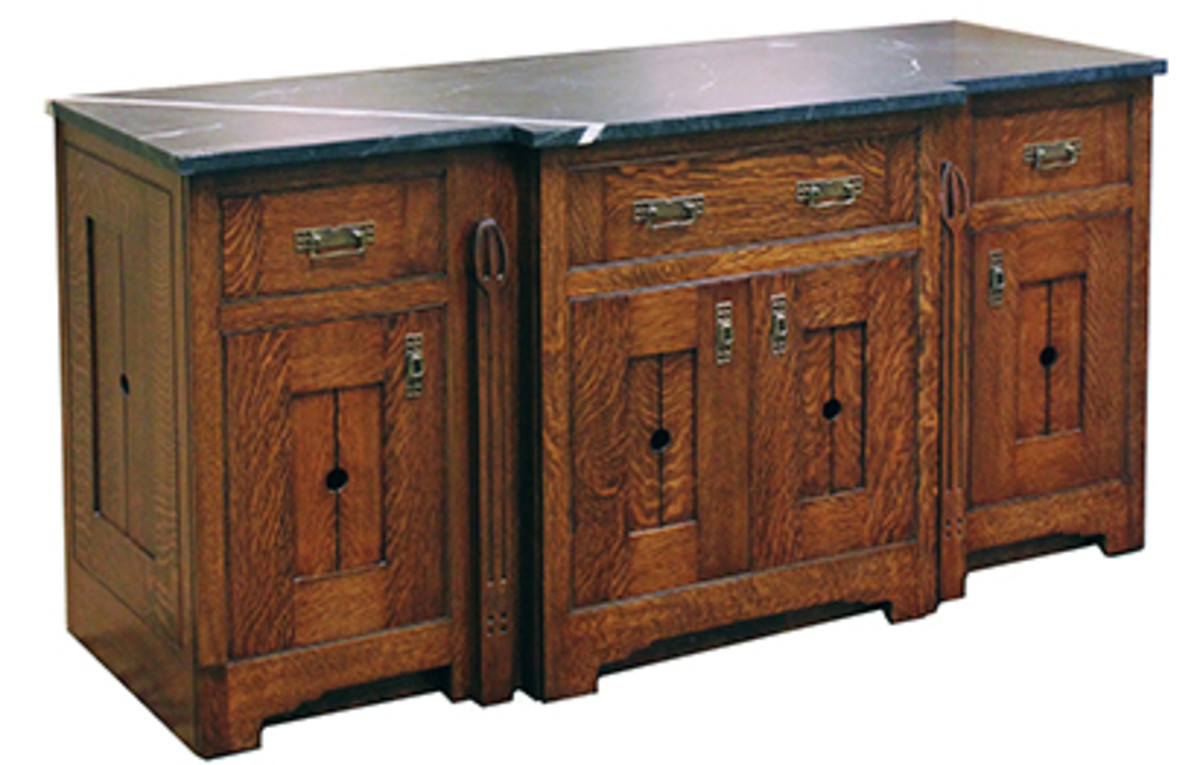 This custom oak sideboard by Gregory Paolini leans toward Art Nouveau styling.