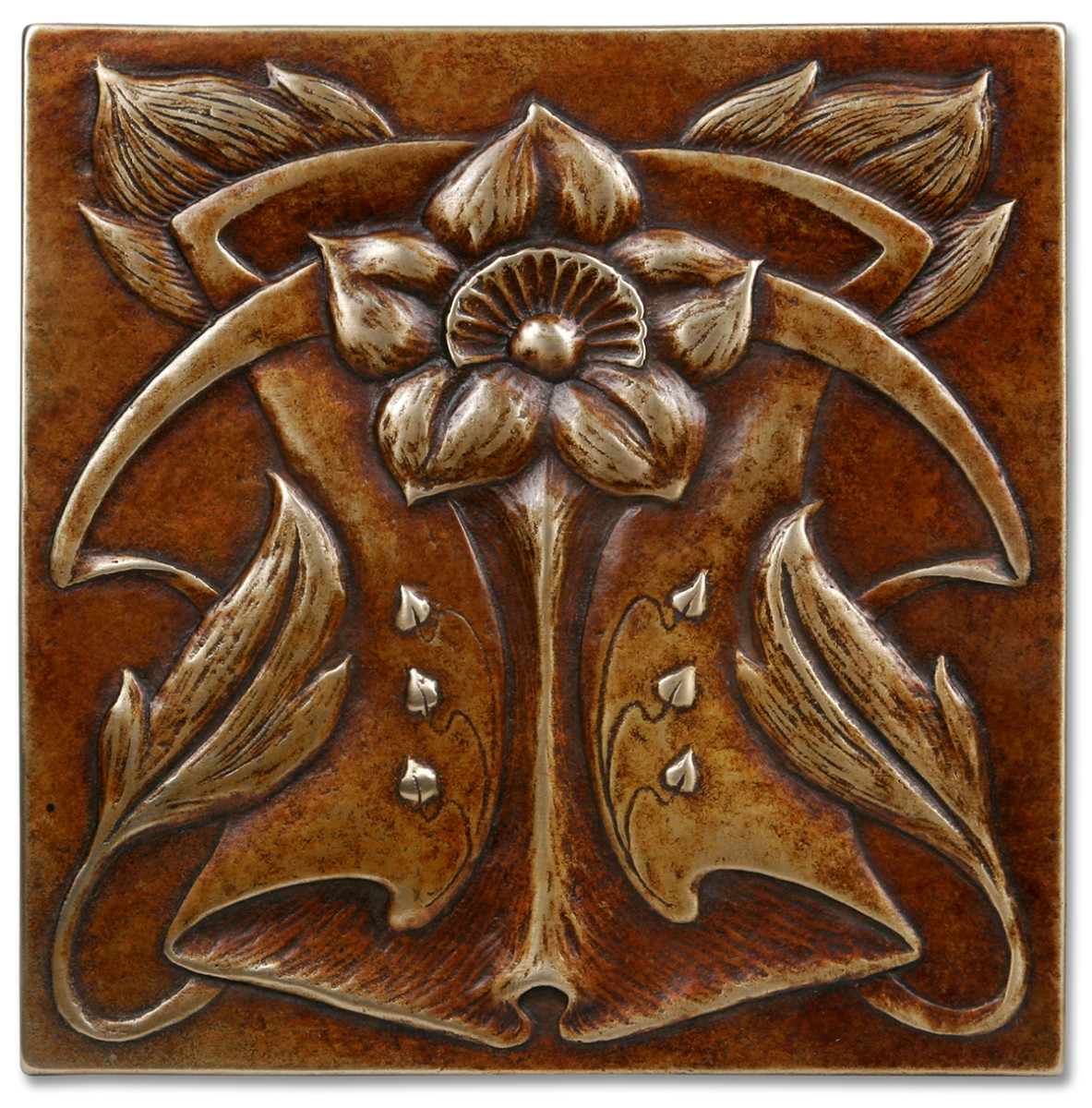 A metal accent tile by Metaphor Bronze.