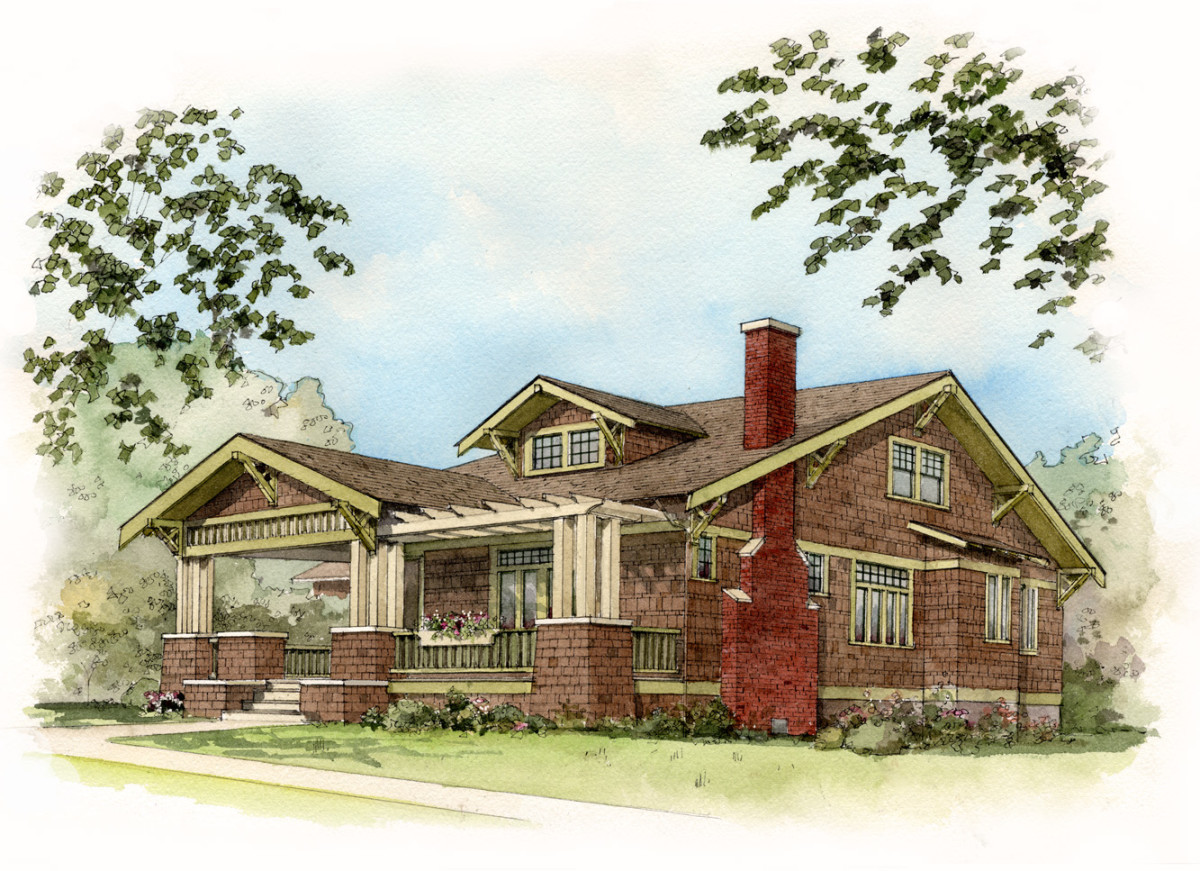 bungalow watercolor sketch