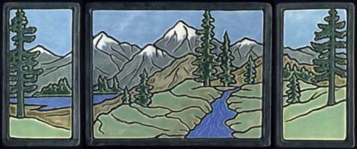 This scenic tile triptych is by Ravenstone Tiles.