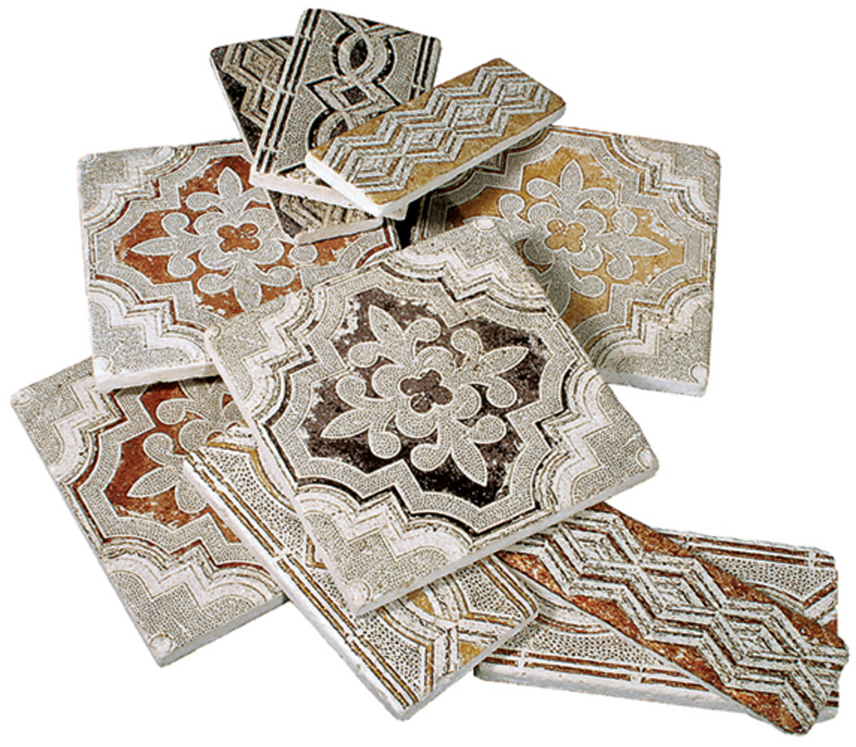 """These stone tiles in the """"Altalena' collection by Stone Impressions mimic the ancient appearance of Roman and Moorish tiles found in Spain."""