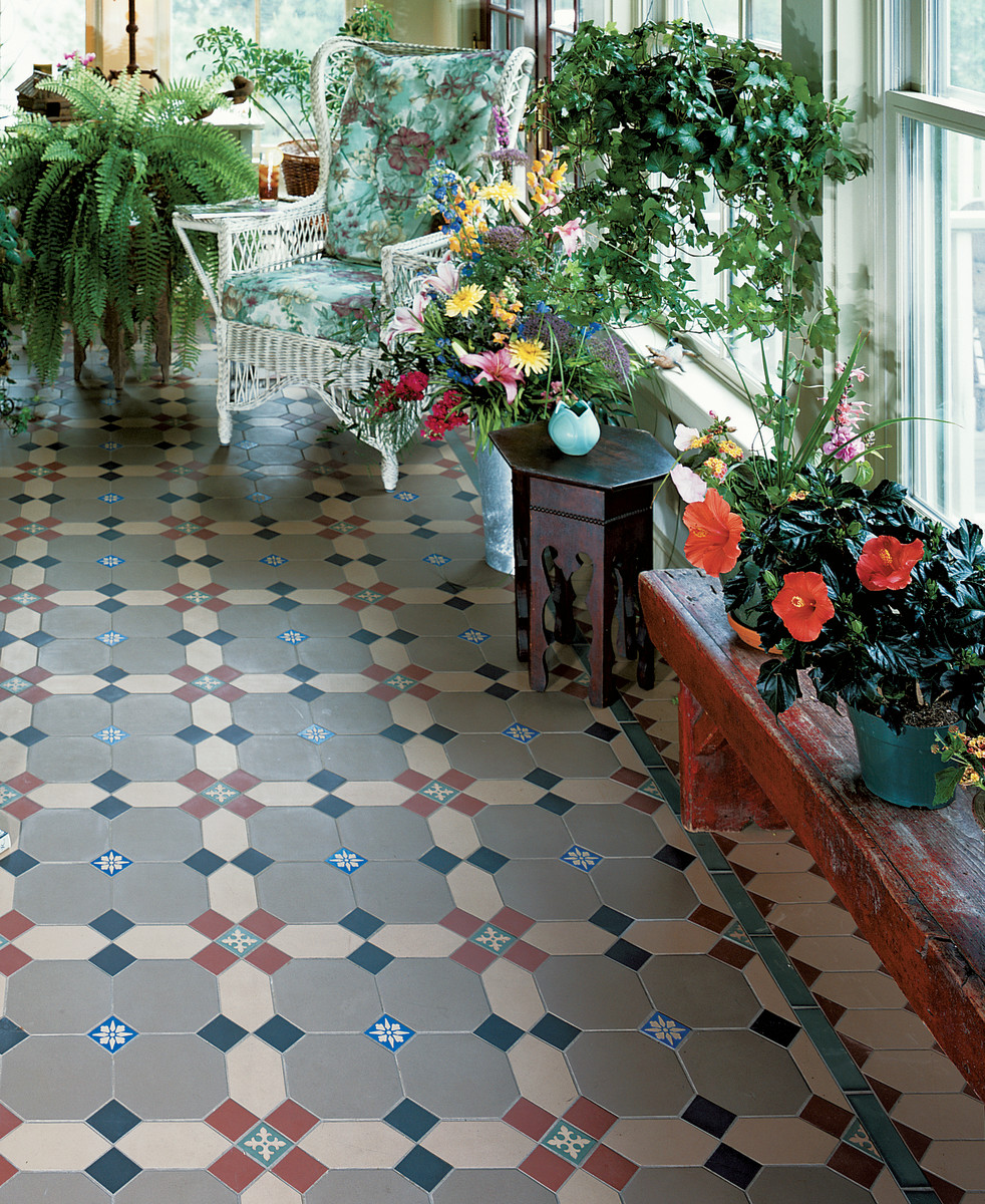 Durable encaustic and geometric tiles are perfect for mudrooms, sunrooms, and entryways.