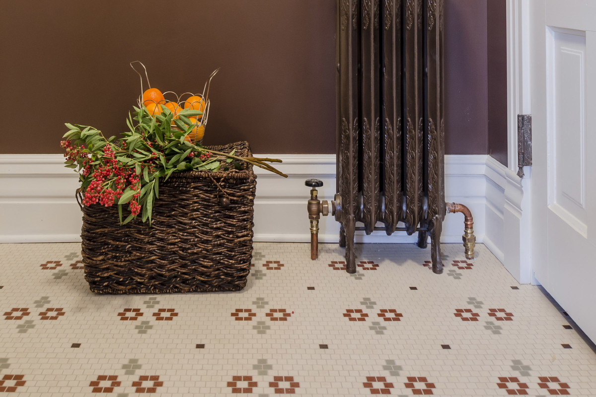 Traditional look tile flooring from Subway Mosaics by Heritage Tile.