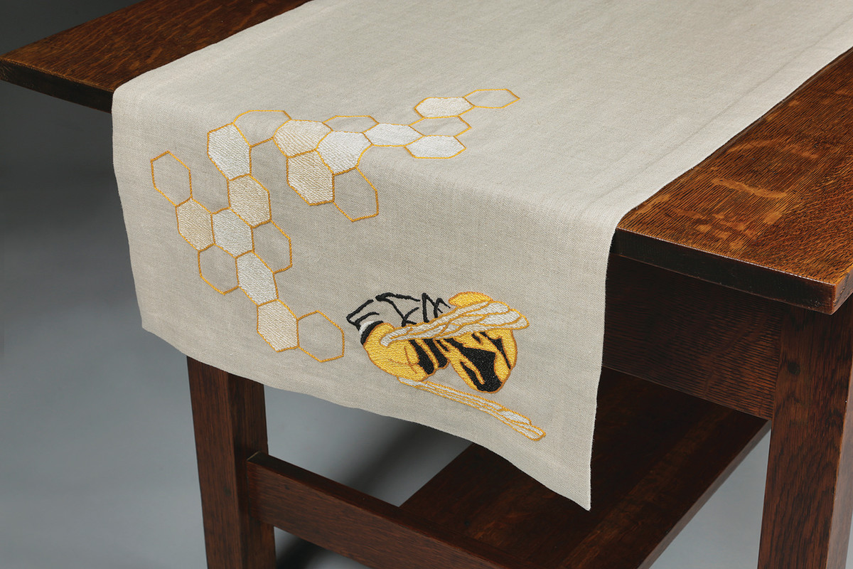 """""""Sustenance 1"""" is a table runner from the End of Pollinator series. In the future, Triebes hopes to hand-dye her own textiles. """"Linen takes natural dyes so beautifully."""""""