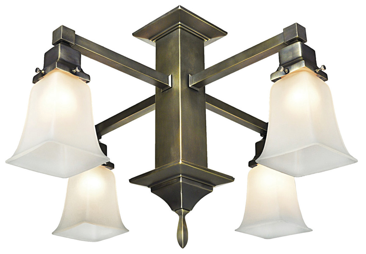 The four-arm, close-to-the-ceiling pendant fixture is in early-20th-century Mission style.