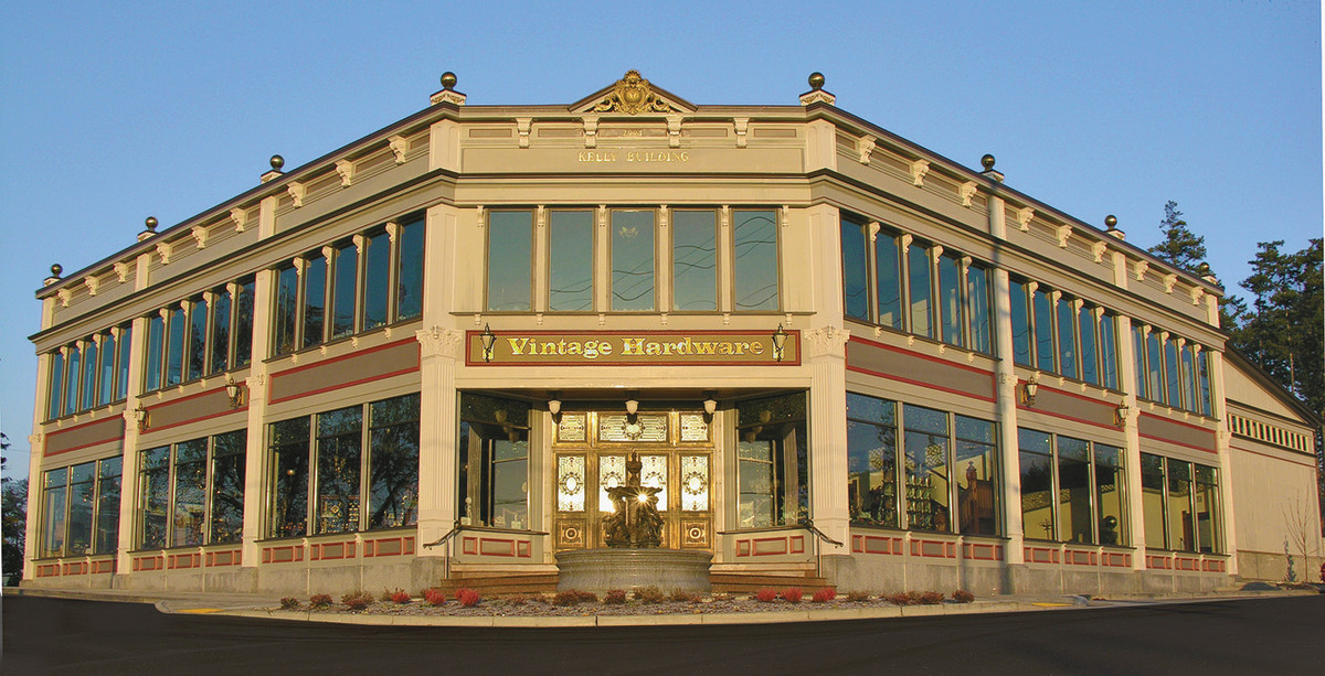 The Vintage Hardware showroom in Port Townsend, Wash., is patterned after old, urban, cast-iron buildings.