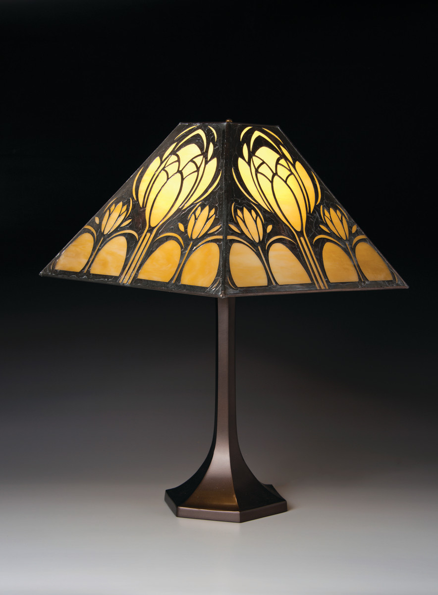 Stylized tulips give organic appeal to this Arts & Crafts lamp.