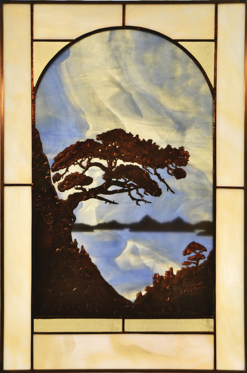 A mystical Chinese landscape glows in this window panel by Anne Ryan Miller.