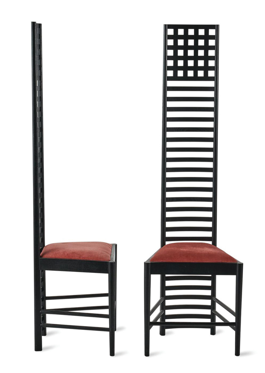Hill House chairs, 1904, designed by Mackintosh; ebonized ash.