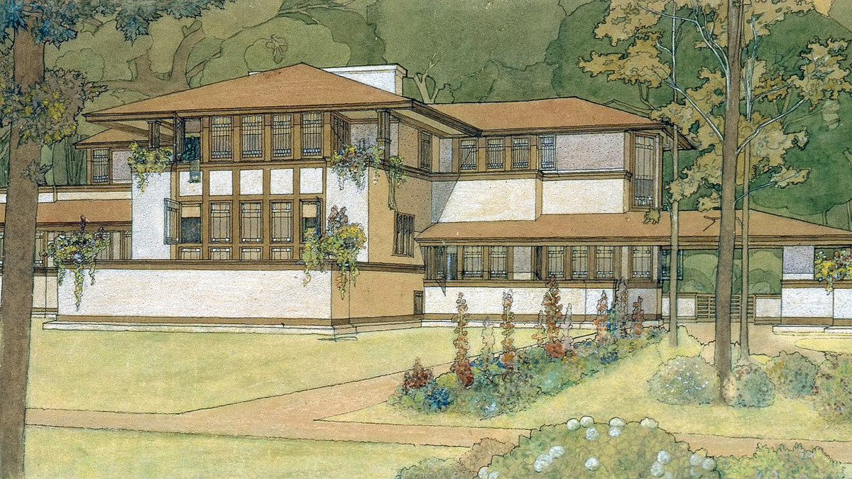 Ward W. Willits house, 1902, architect Frank Lloyd Wright; rendering Marion Mahony Griffin.