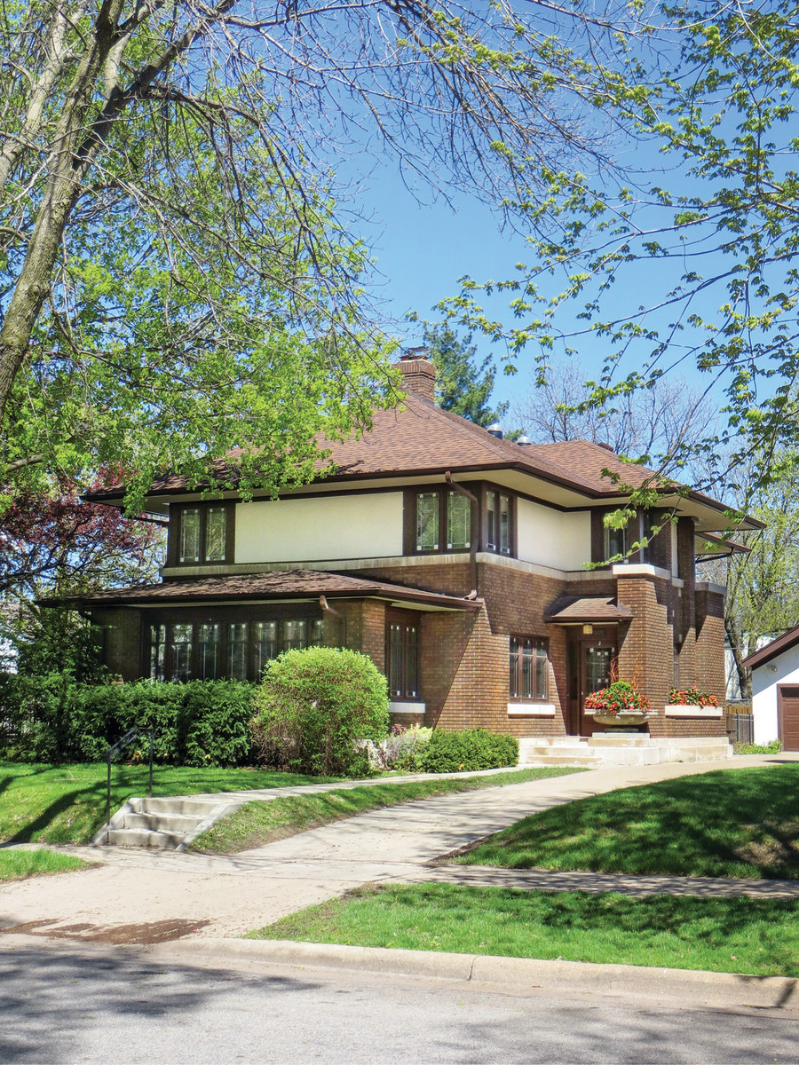 The 1915 house in St. Paul is a fine example of Prairie School residential architecture.