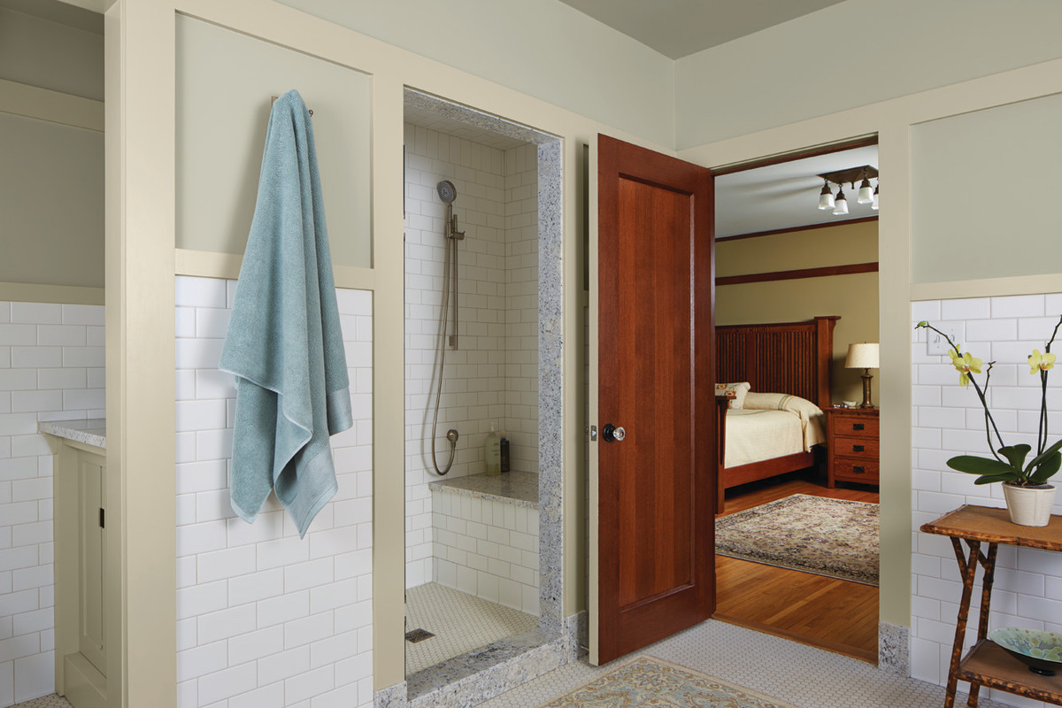 The master bath suite is nicely partitioned for privacy. The toilet and shower get their own rooms on one wall.
