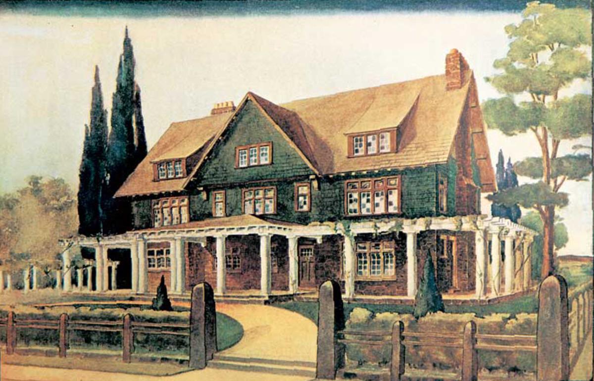 A true Craftsman Home, Craftsman Homes Plan #10, introduced in Gustav Stickley's magazine in October 1904.